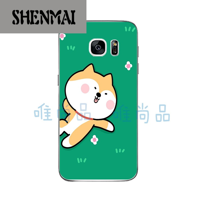 shm品牌三星s7/s7edge手机壳c5保护套曲屏软硅胶q版卡通可爱搞怪柴犬