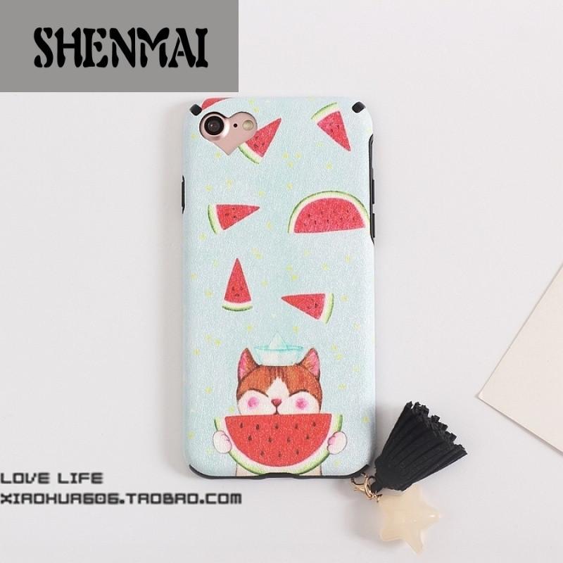 shm品牌卡通西瓜iphone7手机壳苹果7plus蚕丝硅胶6splus吊坠保护套6s