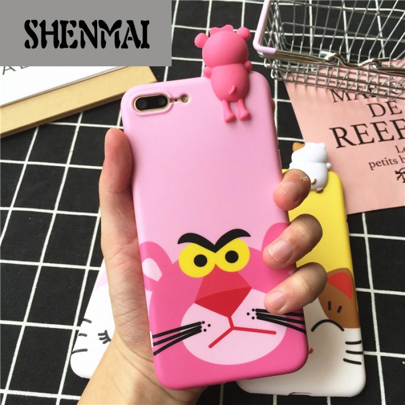 shm品牌可爱卡通顽皮豹猫咪趴趴系列苹果7plus手机壳iphone6s全包硅胶