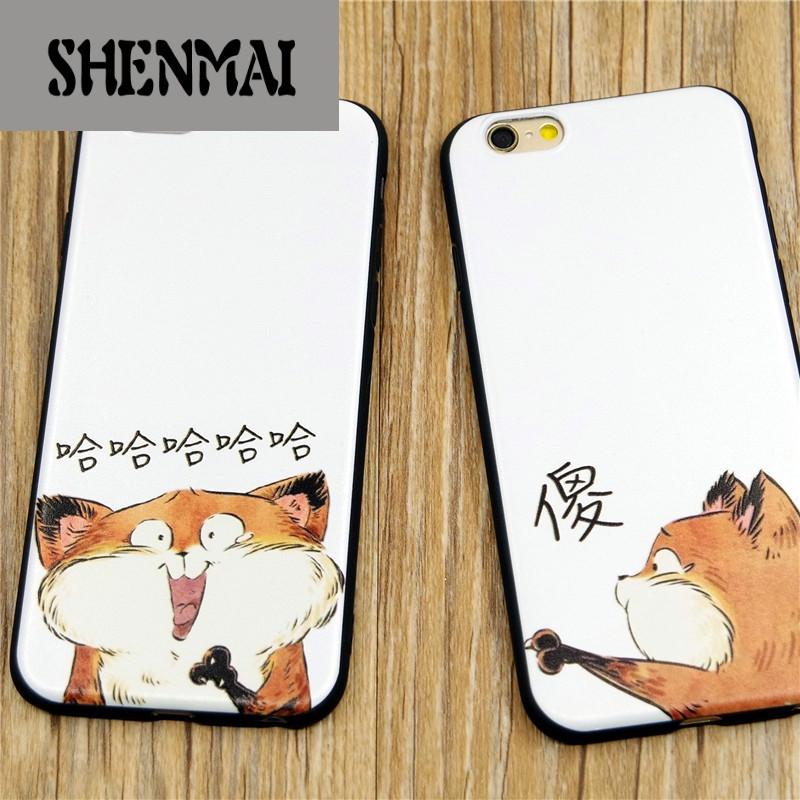 shm品牌 恶搞怪可爱猫咪哈哈phone6s手机壳卡通情侣 苹果6plus硅胶