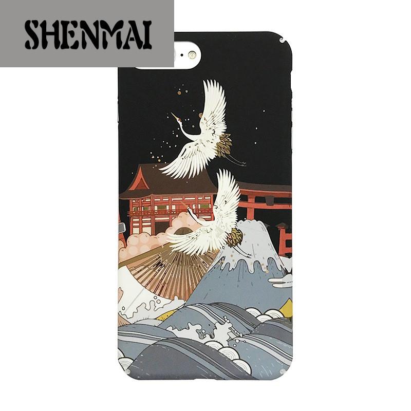 shm品牌日系和风仙鹤iphone8/x手机壳文艺白鹤苹果7plus全包边硬壳6s