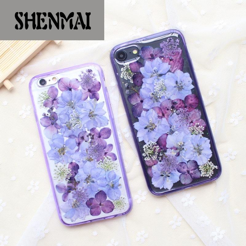 shm品牌紫色满屏真花干花苹果8x手机壳7plus 日韩创意