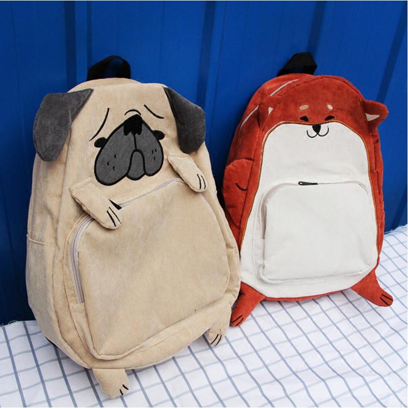 韩版新款可爱狗狗小松鼠动物系列双肩包学生情侣男女原宿书包背包