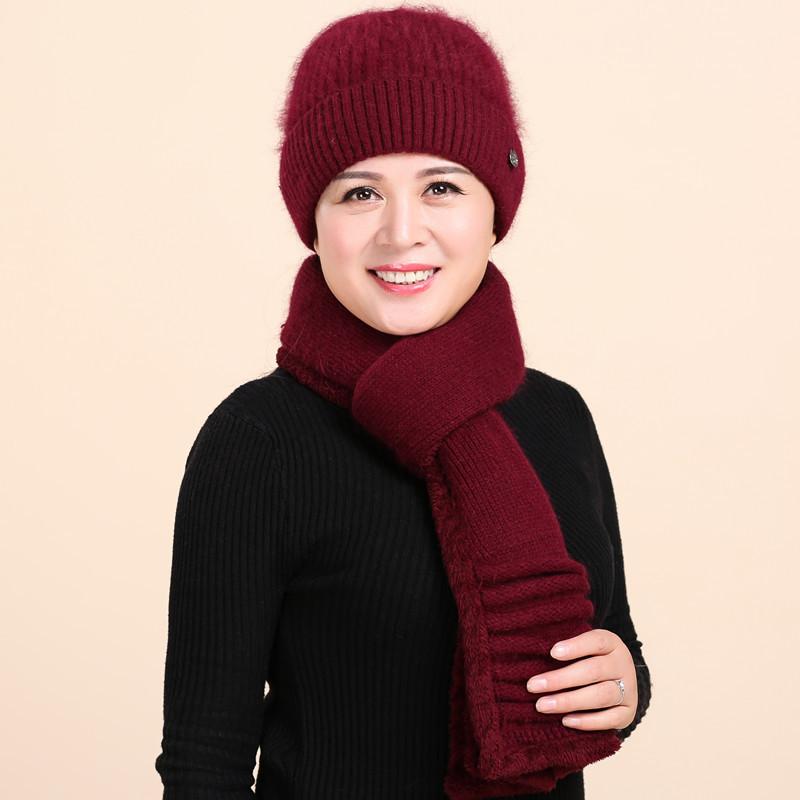 老年人帽子女冬季奶奶保暖毛线帽兔毛针织帽中老年女士围巾套帽女