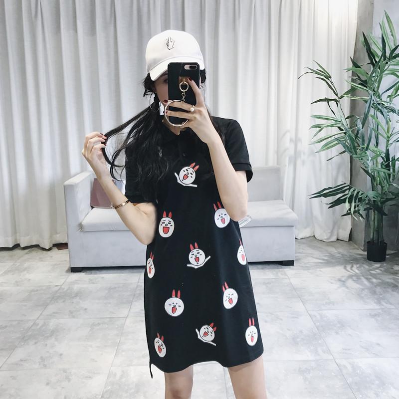 韩版百搭短袖可爱小熊连衣裙女 夏季2017新款学生卡通中长款裙子