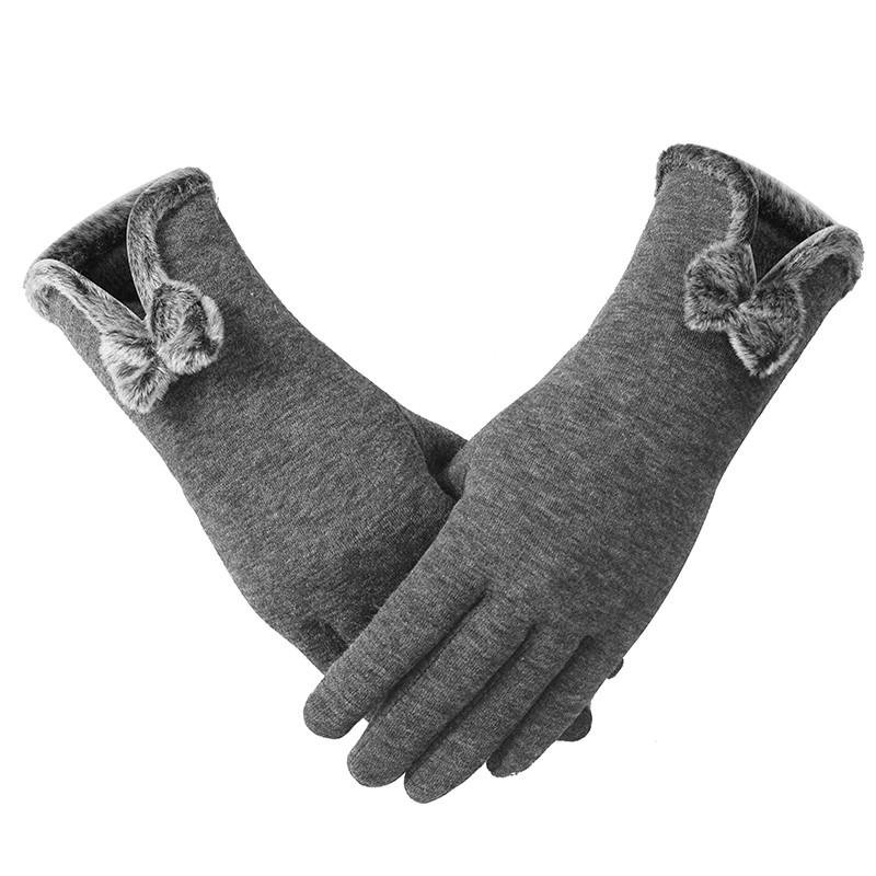 新款保暖手套女冬季可爱加绒加厚食指触控韩版触摸屏全棉手套女秋休手