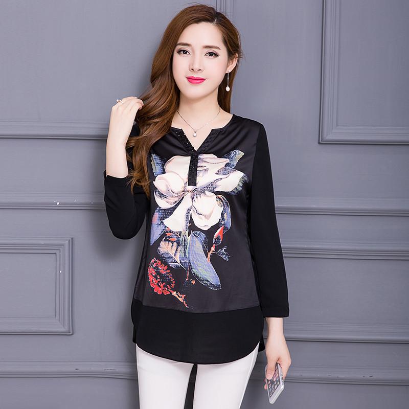 时尚小衫_2017秋装新款韩版修身女士中长款时尚小衫百搭九分袖中年打底衫40