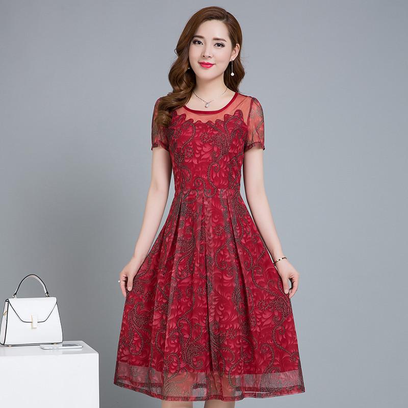 中长款宽松连衣裙短袖韩版
