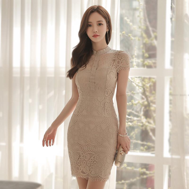 蕾丝蓬蓬裙连衣裙名媛小香风