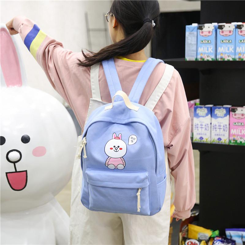韩版可爱卡通帆布双肩包女中学生背包女校园高中生书包休闲旅行包