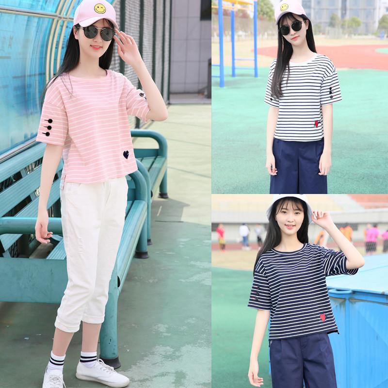 mtiny少女韩版休闲运动套装女夏季新款初中生夏装中学生短袖两件套图片