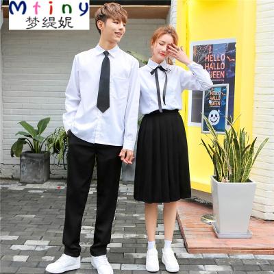 Mtiny英倫學院風班服校服韓版短袖白襯衫男女jk制服日系水手服學生套裝