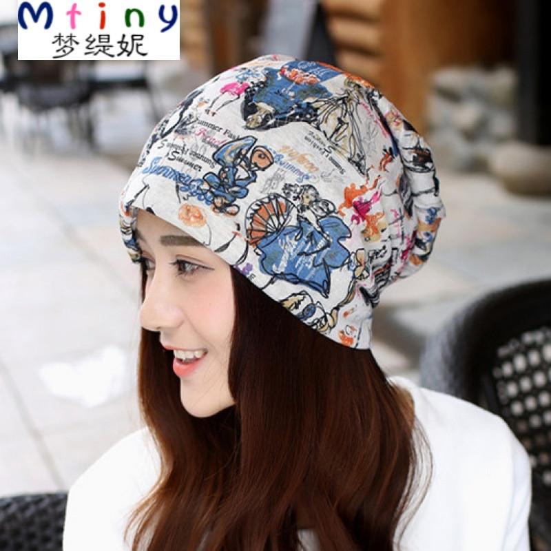 mtiny时尚新款月子帽夏季薄款包头透气头巾帽子产后春秋款两用套头帽