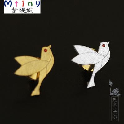 MtinyS925純銀原創拉絲鴿子胸針襯衫開衫配飾胸花文藝清新男女特價包郵