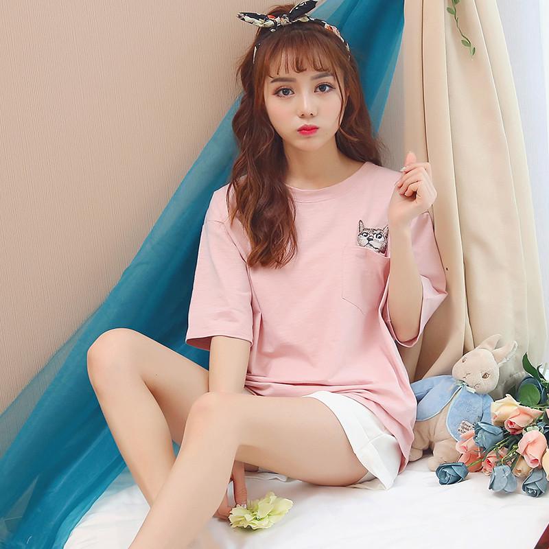 2017款】女睡衣夏季短袖韩版纯棉清新甜美可爱卡通宽松两件套装学生