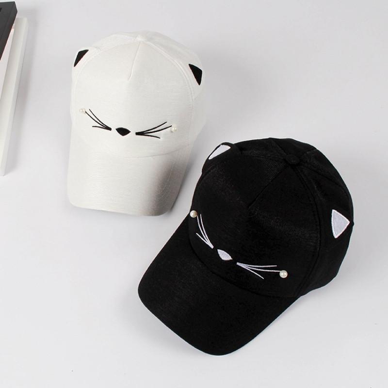 【新款2017】帽子女夏天遮阳可爱猫脸棒球帽韩版猫耳朵帽子休闲百搭