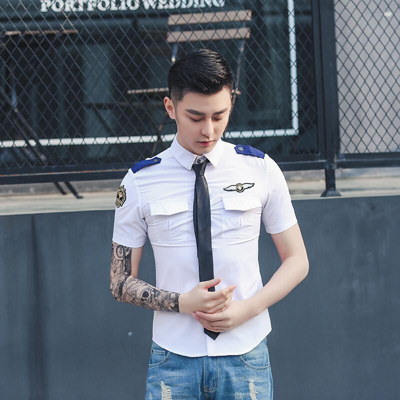 opzc海军空少制服发型师修身衬衫男模酒吧ktv长短袖服务员工作服衬衣图片