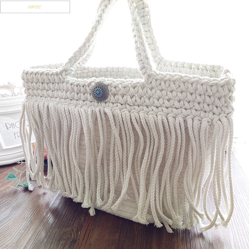 opzc新款草编包手工棉绳编织包森女系小清新流苏女包手提包度假沙滩包