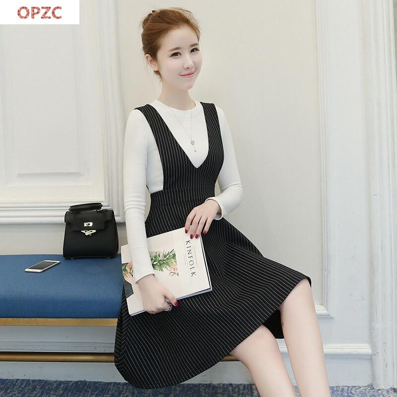 opzc秋冬连衣裙针织两件套长袖冬季套装裙加厚加绒图片色