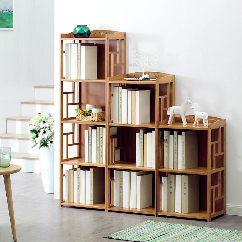 明思鑫德简约现代客厅楠竹家具简易书架置物架实木多层落地学生书柜图片