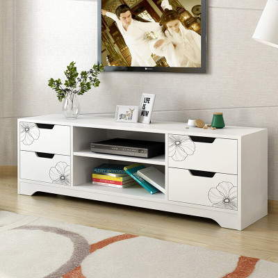 明思鑫德 简约现代人造板液晶地柜客厅板式家具简约小户型大抽屉白色茶几电视柜组合套装地柜