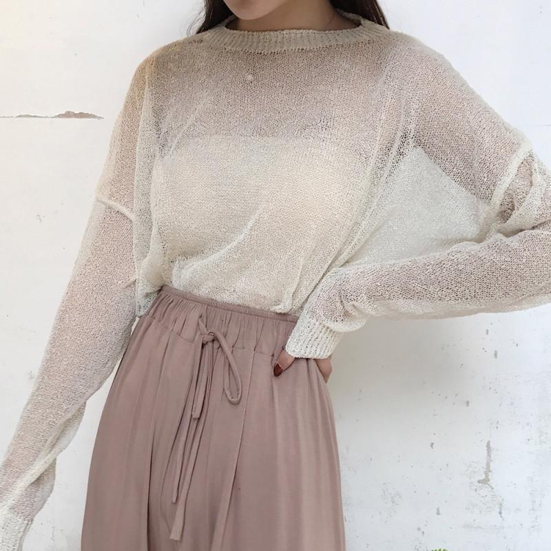 娉语夏季新款女装时尚慵懒风冰丝薄针织防晒衫宽松透视套头女上衣罩衫