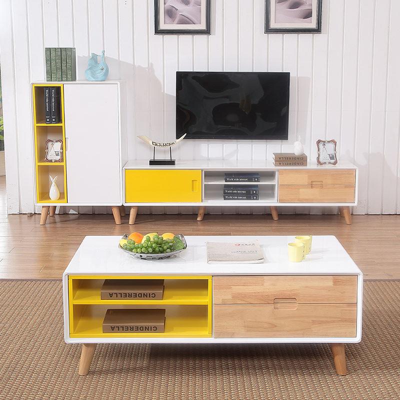蒂凯特北欧客厅小户型茶几电视柜组合套餐 图样色 1.图片