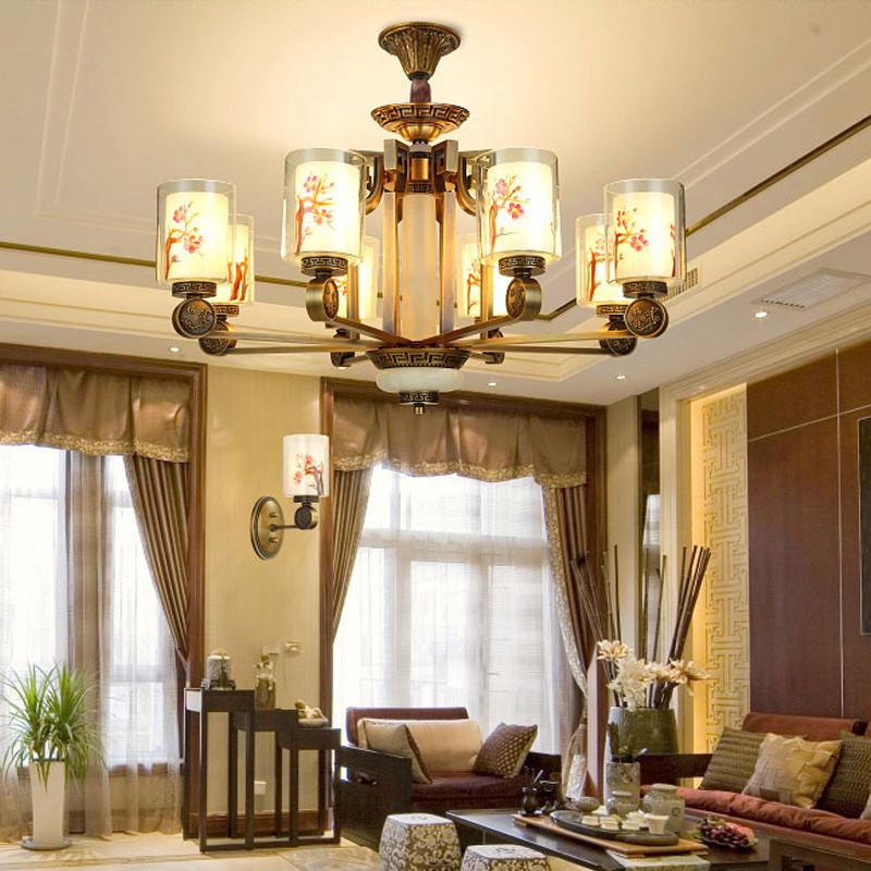 阿库琉斯现代新中式吊灯全铜客厅灯中式灯具布艺书房卧室铁艺仿古餐厅