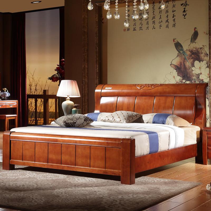 慕斯艾伦 全实木床原木家具单人1.5特价双人床头1.