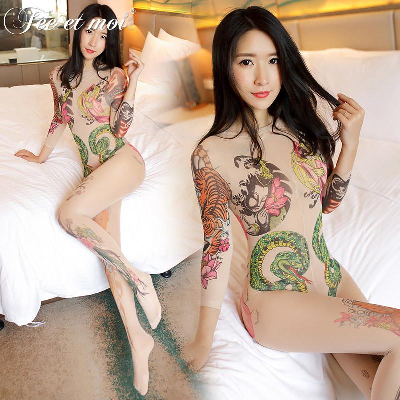 纹身女�_情趣内衣纹身女性感小胸连体丝袜大码透视开裆制服sm激情用品套装图片