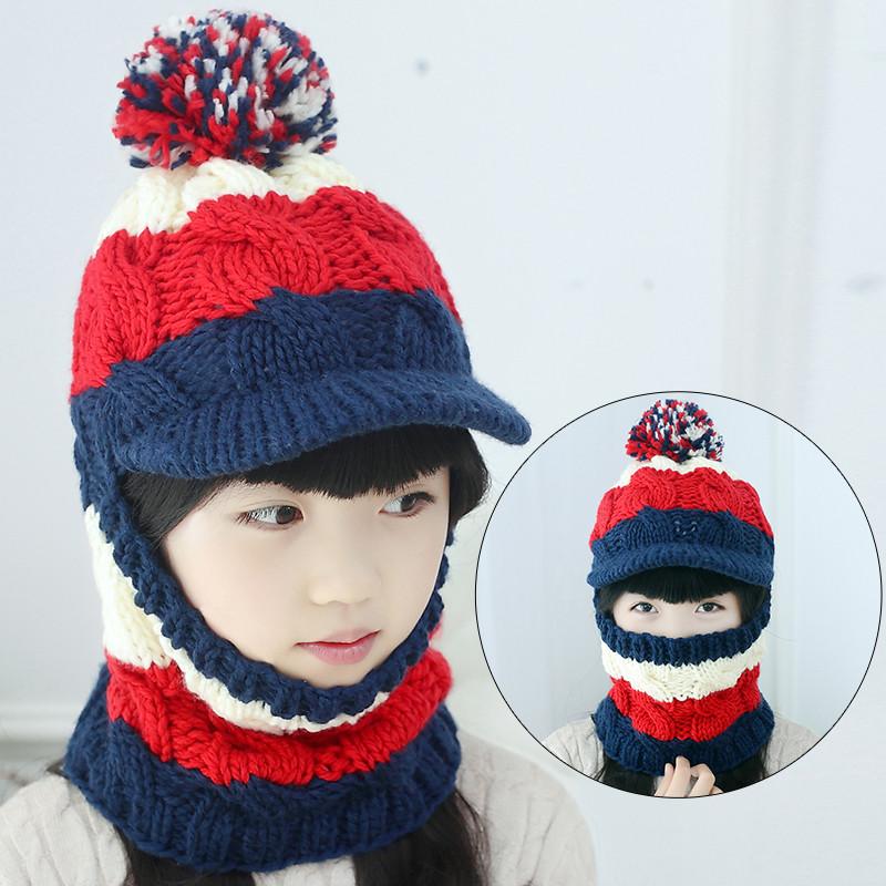 2017冬季儿童帽子秋冬女童毛线帽宝宝帽小孩套头帽围脖手工保暖亲子帽