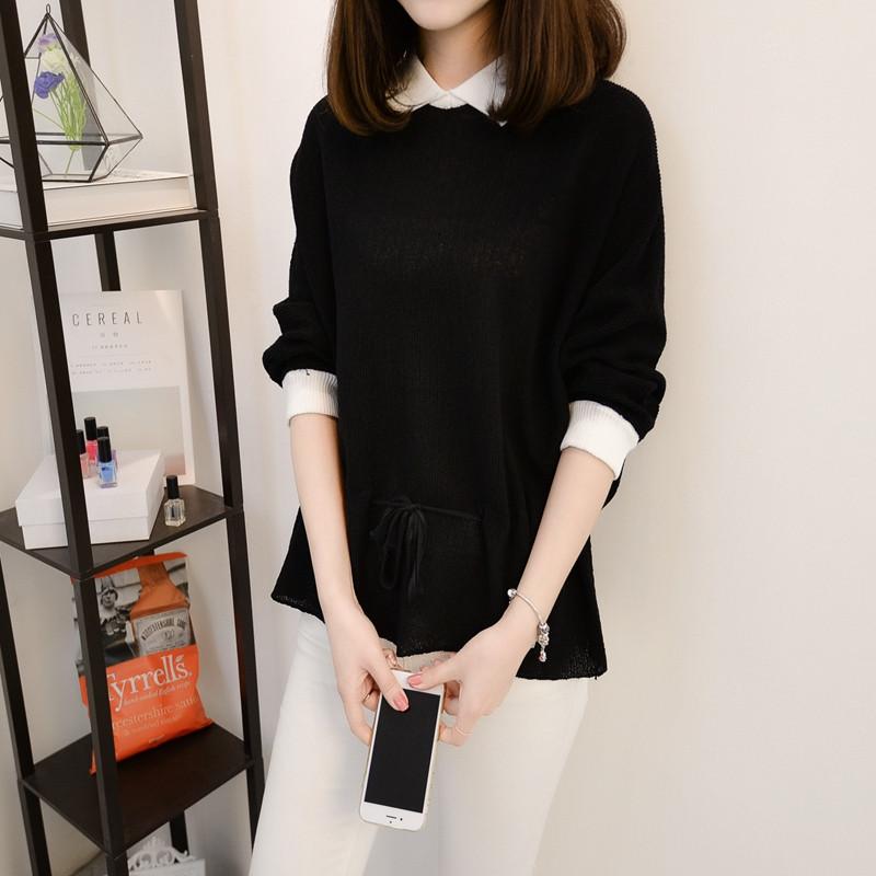 娉语2018春季新款时尚小方领收腰蝙蝠衫女韩版穿带长袖短款冰麻针织衫