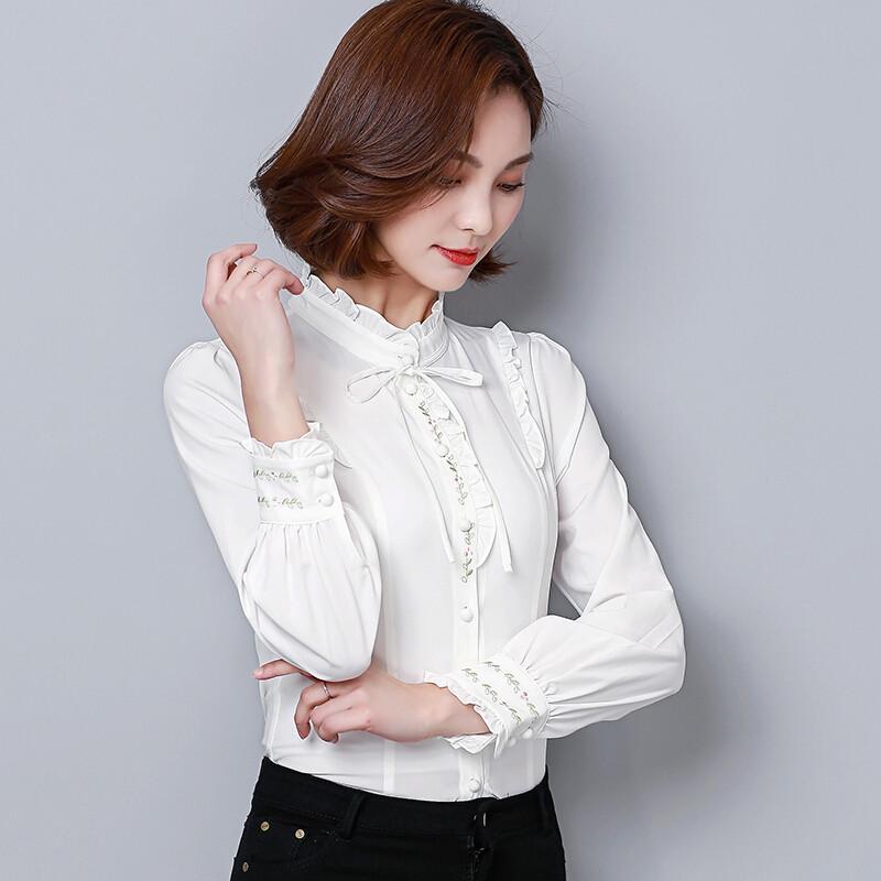 雪纺衫�z(���-�i#�(�_ctrlcity修身绣花系带拼接长袖套头立领百搭纯色年秋季蕾丝衫/雪纺衫
