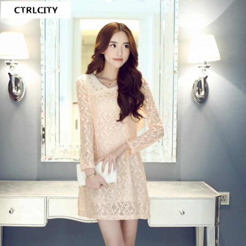 ctrlcity秋冬新款女装韩版时尚潮流小清新甜美可爱修身显瘦蕾丝花边