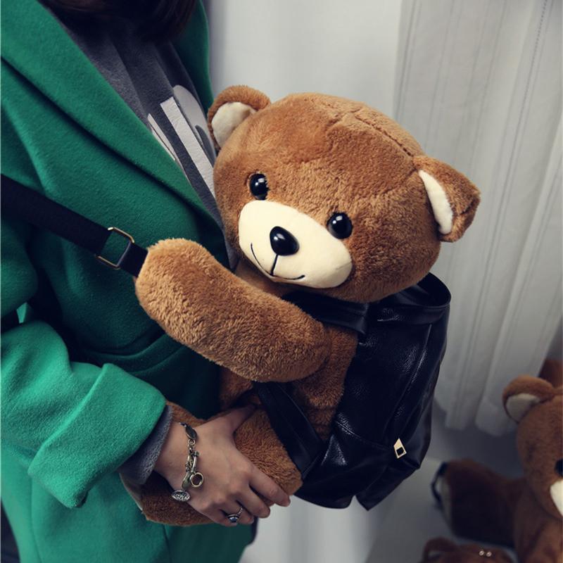 封后日韩卡通可爱萌物趴趴熊双肩包女休闲逛街旅行泰迪小熊双肩背包女