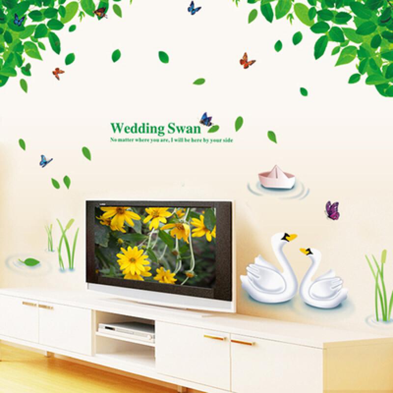 宜佳蕙客厅电视背景墙上贴画墙壁贴纸卧室温馨墙贴田园风景树叶创意墙