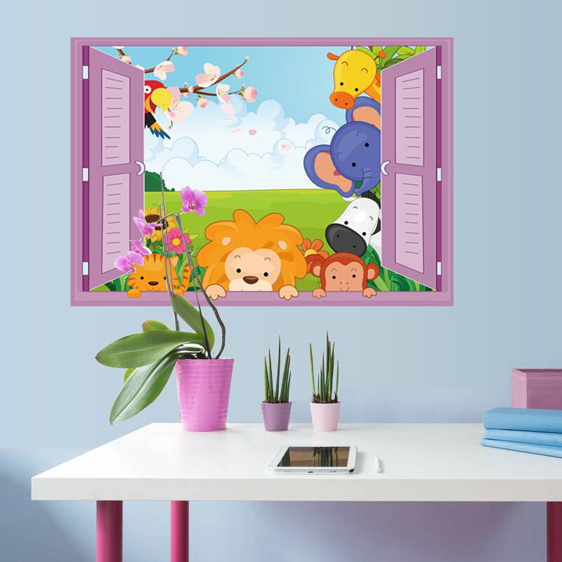 宜佳蕙3d立体效果平面假窗户墙贴纸儿童房幼儿园卡通可爱小动物墙贴画