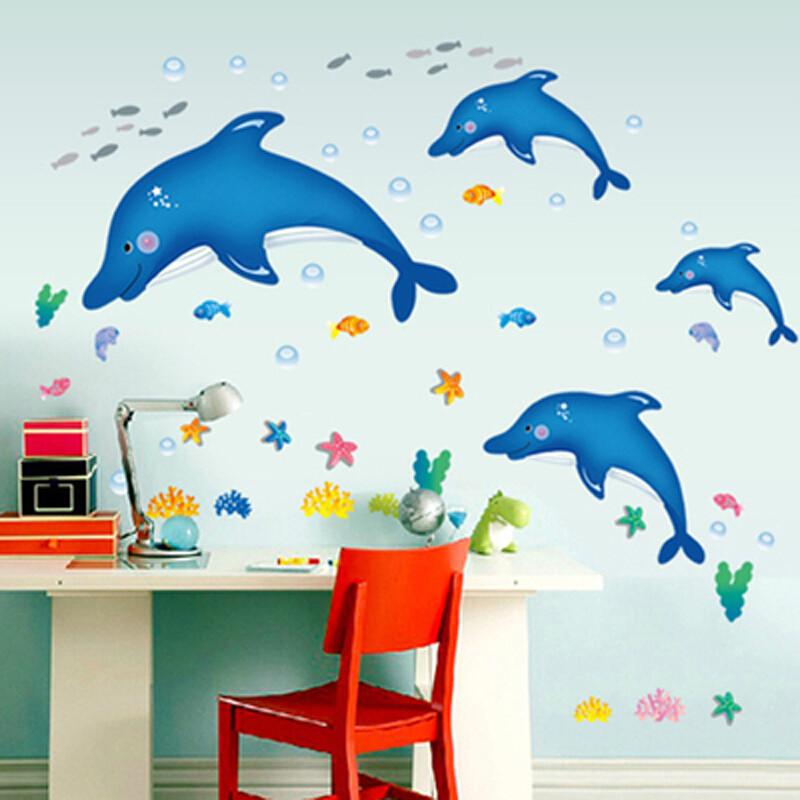宜佳蕙海底世界卡通海洋鱼海豚幼儿园海洋馆玻璃墙壁装饰可爱小鱼墙