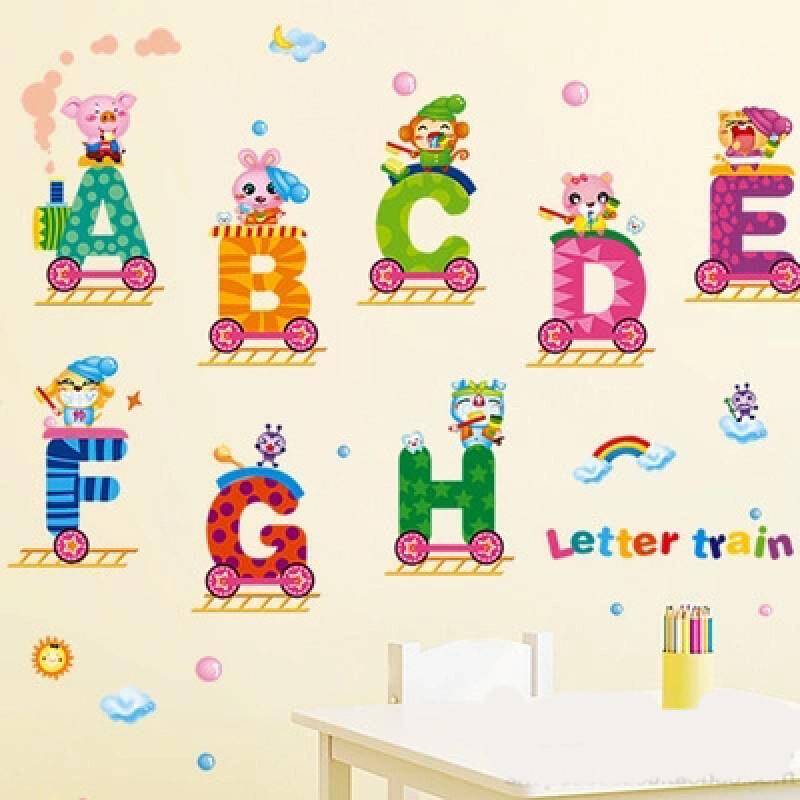 宜佳蕙可移除墙贴字母动物火车幼儿园卡通儿童房宝宝贴纸贴画早教墙贴