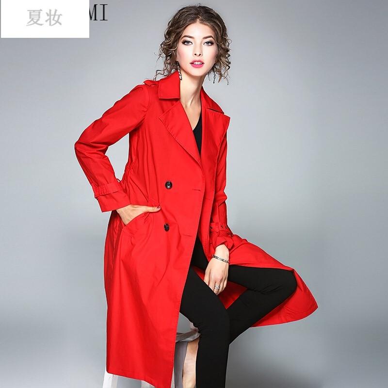 夏妝女裝秋裝新款歐美時尚雙排扣長款風衣寬松休閑外套圖片