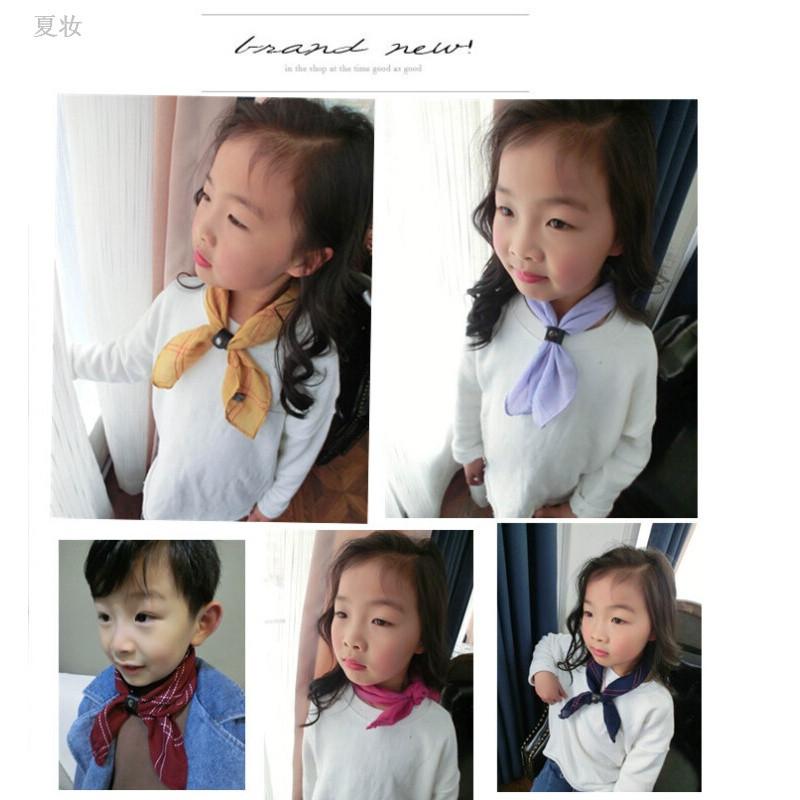 夏妆 欧美格子皮扣儿童小丝巾新款韩版时尚百搭萌宝围巾方巾