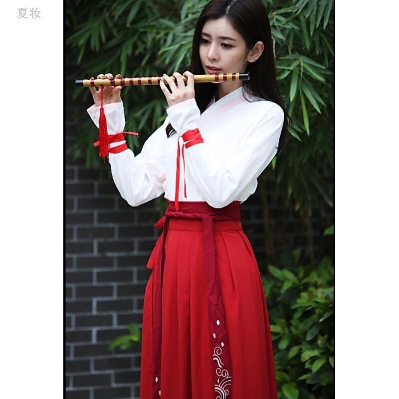 夏妆 古装实拍汉元素设计改良汉服女枣红色鱼鳞交领襦裙日常中国风