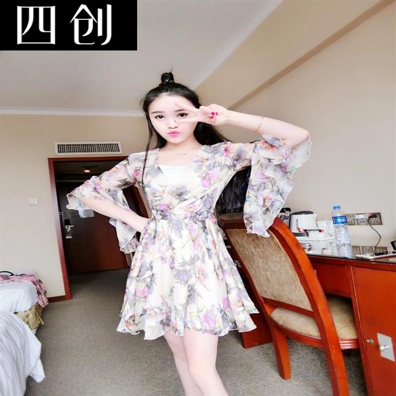 秋冬新款韩版修身显瘦甜美可爱深性感雪纺碎花喇叭袖连衣裙粉红色送裹