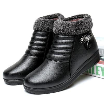棉鞋女冬季加絨加厚滑靴子中老年媽媽鞋棉皮鞋平底黑色