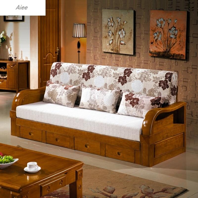 aiee实木沙发三人位客厅组合小户型新中式沙发床伸缩推拉三人沙发双图片