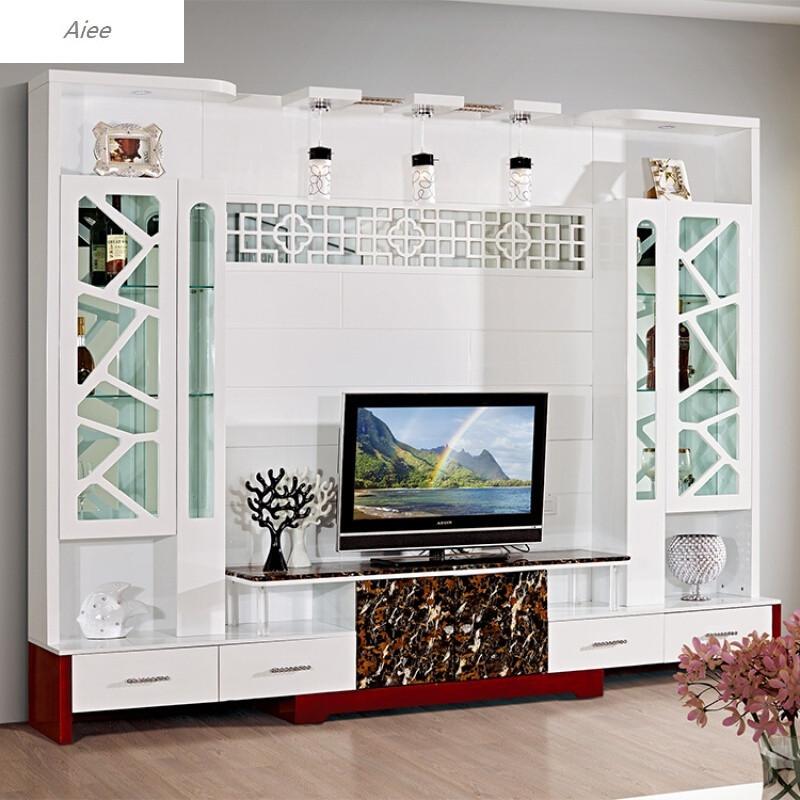 aiee美式电视柜背景墙组合柜中式客厅烤漆影视墙地柜现代电视酒柜d款