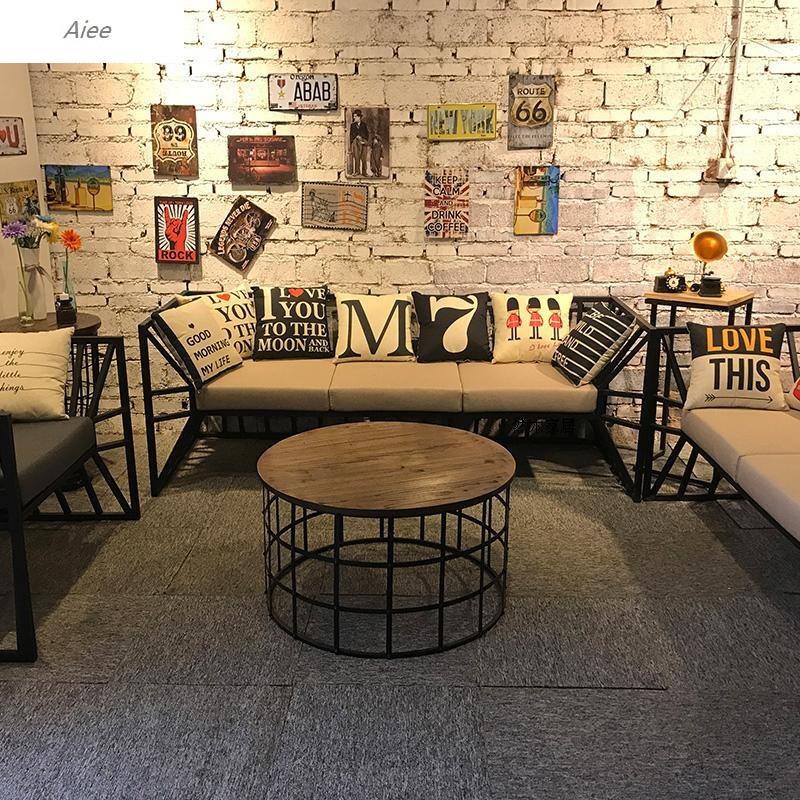 aiee美式loft复古工业风办公室设计工作室铁艺沙发服装店布艺接待沙发图片