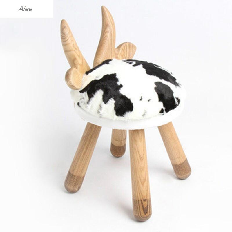 aiee儿童凳椅子靠背椅北欧风手工动物椅子小鹿小羊小兔奶牛凳子椅子
