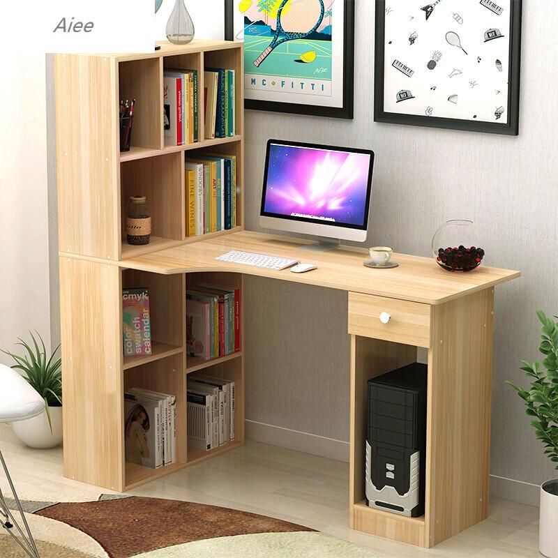aiee创意木纹转角电脑桌简约台式桌家用经济办公桌书桌书柜组合写字