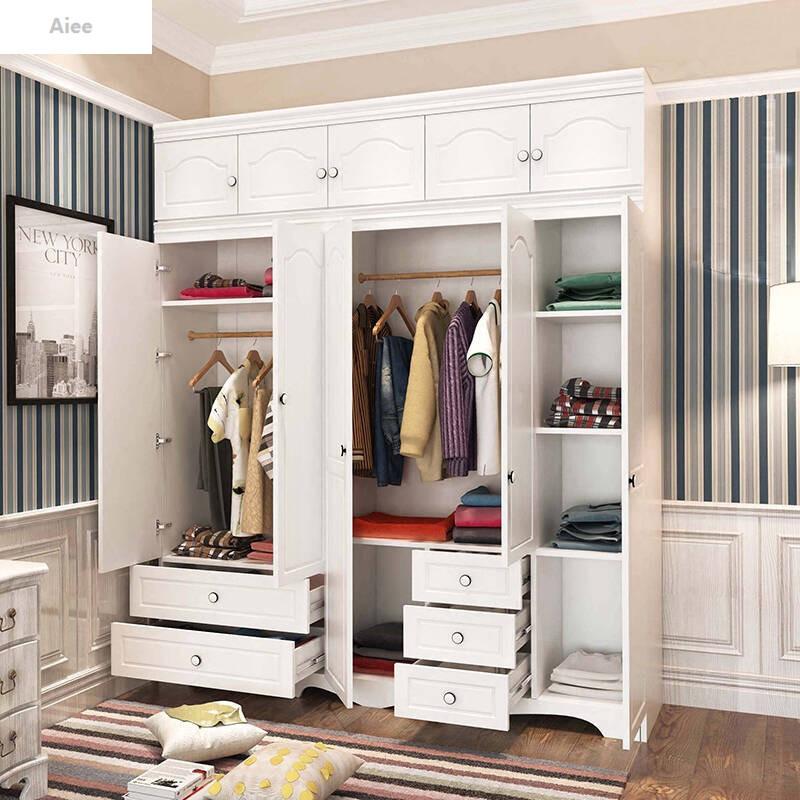 aiee简约现代欧式白色平开门大衣柜木质韩式板式234门卧室整体衣橱